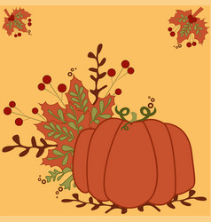 stylized vintage pumpkin - vintage autumn vector image