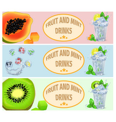 summer fruit and mint drinks promotion poster vector image