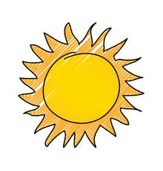 Summer sun drawing icon vector