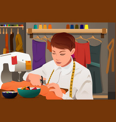Tailor working with sewing machine vector