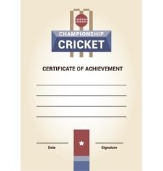 Template Certificate Diploma cricket vector