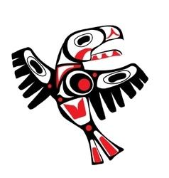 totem bird indigenous art stylization vector image