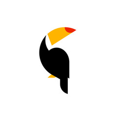 toucan flat style logo template isolated on white vector image