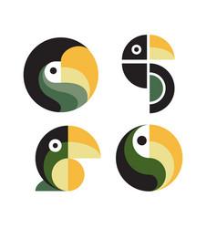 toucan macaw bird logo design set vector image