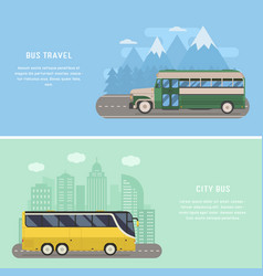 Travel bus concept banners vector