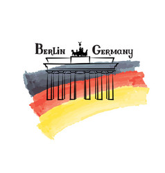 Travel germany sign berlin famous brandenburg vector