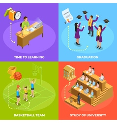 University People 4 Isometric Icons Square vector image