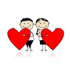 Valentine day Couple with big red hearts for your vector image