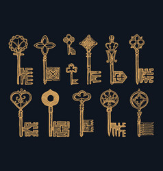 victorian keys medieval gothic locks set the vector image
