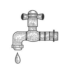 Water tap with drop sketch vector