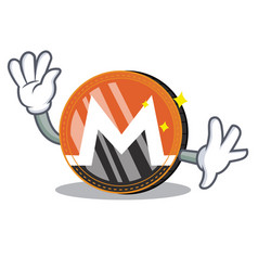 waving monero coin character cartoon vector image