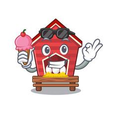 With ice cream chicken coop in cartoon shape vector