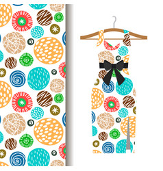 Women dress fabric pattern with dots vector