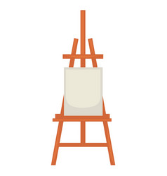 Wooden easel with clean paper isolated on white vector