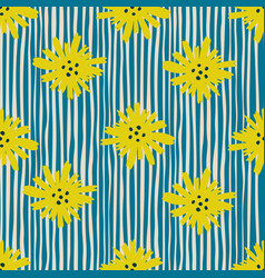 Yellow chamomile flowers seamless pattern daisy vector