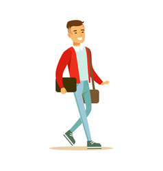 young smiling man in a red jacket walking and vector image