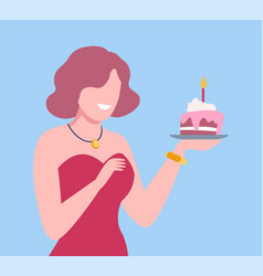 young woman holding cupcake with candle girl vector image