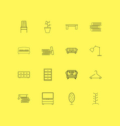 furniture linear icon set simple outline icons vector image vector image