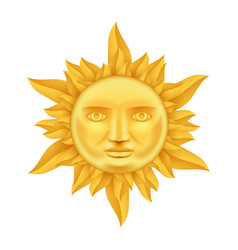 golden sun face antique crown of flames realistic vector image vector image