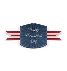 Happy Memorial Day festive Emblem with Ribbon vector image