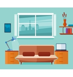 Home office interior with sofa and laptop vector image