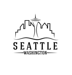 seattle skyline design template vector image vector image