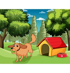 A dog playing outside a dog house vector image