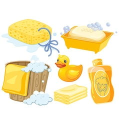 Bathroom set in yellow color vector image vector image