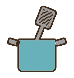 blue pot grilled spatula cooking kitchenware vector image