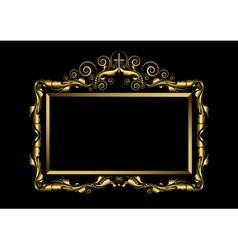 Luxury gold frame on black background vector image