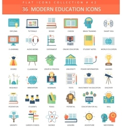 Modern education flat icon set Elegant vector image