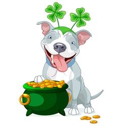 Pit bull celebrates Saint Patrick Day vector image