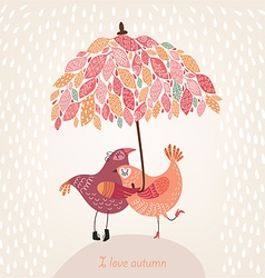 romantic autumn background with birds in love vector image vector image