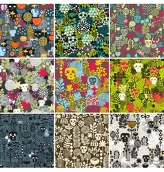 Set of floral seamless patterns with funny skulls vector image vector image