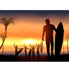 Surfers Having a Beach Party vector image vector image