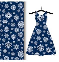 women dress fabric pattern with snowflakes vector image vector image