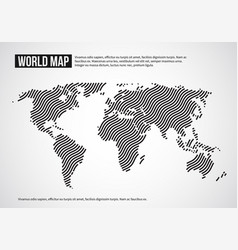 world map of wavy lines abstract globe continents vector image vector image