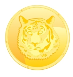 Coin with scene of the tiger vector image vector image