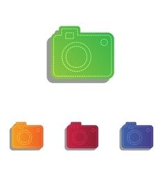 Digital camera sign Colorfull applique icons set vector image