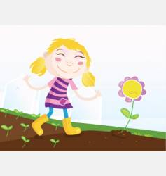 girl in garden vector image vector image