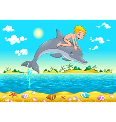 The boy and the dolphin in the sea vector image