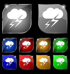 Weather icon sign Set of ten colorful buttons with vector image vector image