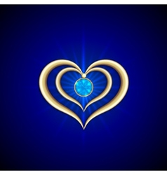 abstract bright blue background with golden hearts vector image