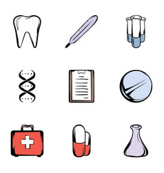 medical things icons set cartoon style vector image