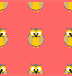 tile pattern with owls on pink background vector image vector image