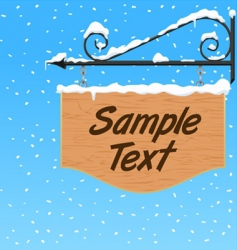 wooden sign with snow effect vector image vector image