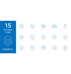 15 cheerful icons vector