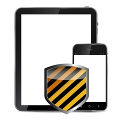 Abstract design realistic mobile phone and tablet vector image