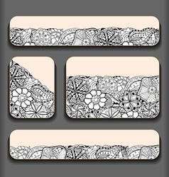 Abstract flower pattern cards set vector image