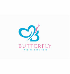 Abstract letter b and butterfly combination logo vector